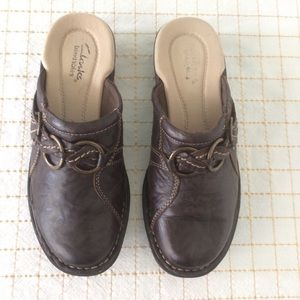 Clarks Brown Leather Clogs, Size 5 1/2